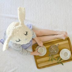 Get ready for spring by knitting this boutique style bunny hat!
