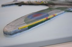 """Another close up of the finished """"Spitfire MK VB"""" 3D Acrylic Painting by Purple Faye showing, how it's 3D"""