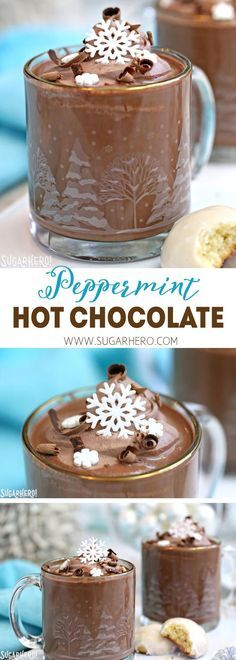 Peppermint Hot Chocolate - rich and creamy homemade hot chocolate, with the perfect amount of peppermint flavor | From SugarHero.com