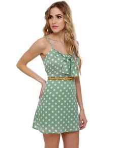 Grand Dotter Mint Green Polka Dot Dress$38.00