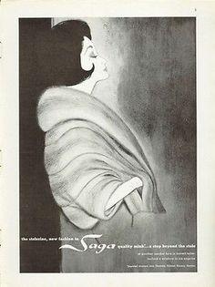 1961 Saga Fashion Gunther Jaeckel Mink Fur Coat Art Print Ad   eBay
