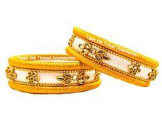 Yaalz Silk Thread Kundan Stone Kada Pair In Creamy Gold & White Colors Silk Thread Earrings Designs, Silk Thread Bangles Design, Silk Bangles, Thread Jewellery, Cheap Earrings, Art Silk Sarees, White Colors, Jewelry For Her, Making Ideas