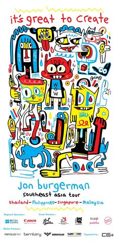 Jon Burgerman is a UK born, NYC based artist, famed for his instantly recognisable drawings, doodles, characters and murals. Illustration Arte, Character Illustration, Bad Comics, Urban Art, Doodle Art, Graphic Art, Graffiti, Street Art, Character Design