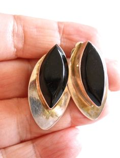 Black Onyx Sterling Earrings Marquis Mexican by RenaissanceFair