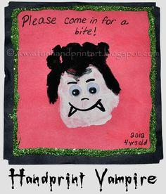 Handprint Vampire Craft and Halloween Saying