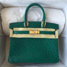 エルメス バーキン 25 cm ハンドバッグ エメラルドグリーン×ゴールド金具 オーストリッチ