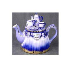 Flow Blue & White Porcelain Teapot w/ Tea Set Lid