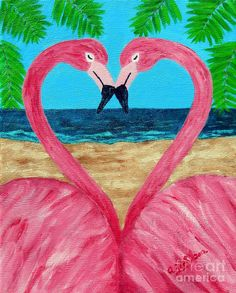 Browse our amazing and unique Flamingo wedding gifts today. The happy couple will cherish a sentimental gift from Zazzle. Flamingo Painting, Love Painting, Flamingo Drawings, Romantic Gifts, Pictures To Paint, Love Gifts, Bird Art, Painted Rocks, Fine Art America