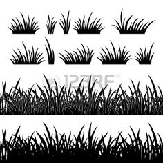 Line seamless and set of grass element for design black silhouette isolated on white background Vect Stock Vector
