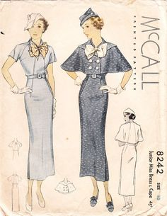 McCall 8242; ©1935; Junior Miss Dress & Cape.
