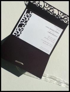 Elegant Swirls Wedding Invitations- Handmade. $7.00, via Etsy.