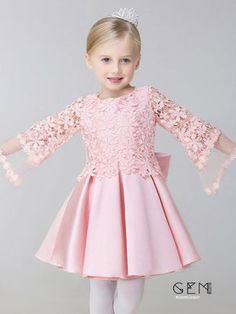 with Puffy Sleeve Jacket at View more special Flower Girl Dresses now? GemGrace is a solution for those who want to buy delicate gowns with affordable prices, a solution for those who have unique ideas about their gowns. Custom high quality, shop now! Pink Flower Girl Dresses, Dresses Kids Girl, Kids Outfits, Dress For Little Girls, Children Dress, Baby Frocks Designs, Dress Anak, Baby Dress Patterns, Kids Frocks