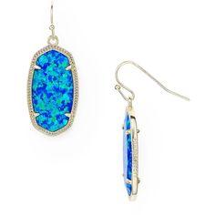 Kendra Scott Dani Kyocera Opal Drop Earrings ($130) ❤ liked on Polyvore featuring jewelry, earrings, kendra scott earrings, blue earrings, drop earrings, blue jewellery and opal earrings