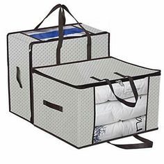 Onlyeasy Clothing Storage Zippered Bags - Fabric Foldable Closet Organizer Soft Bag, Space Saver Bag Case for Beddings Pillows Curtains with Clear Viewing Window, Beige, Closet Storage, Closet Organization, Bag Storage, King Comforter, Comforter Storage, Fabric Storage, Extra Storage, Household Items, Pillows