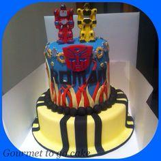 2 tier Transformer cake bumble bee & Optimus prime