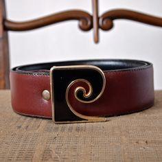 SOLD!Vintage Belt 80's Pierre Cardin Brown Leather by prettyinprague, $55.00