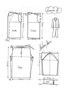 Molde de Pijama tamanho 10