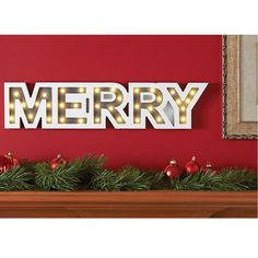The Lighted Holiday Marquee (Merry) - Hammacher Schlemmer Merry Christmas, Xmas, Marquee Lights, Gadgets, Christmas Decorations, Hammacher Schlemmer, Holiday, Girls, Merry Little Christmas