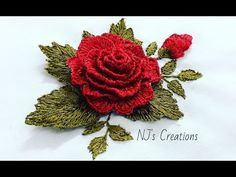 130- Hand embroidery | Stumpwork rose embroidery | 3D rose embroidery - YouTube Embroidery 3d, Flower Embroidery Designs, Cross Stitch Embroidery, Blouse Pattern Free, Free Pattern, Monochrome, 3d Rose, Sewing Crafts, Needlework