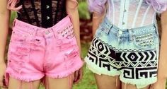 colored jean studded shorts <3