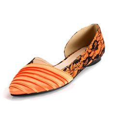 Orange Silk fabric Woman shoes with dentelle and Inner cortex