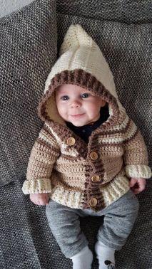 Anleitungbabyjacke Mit Kapuze Grösse 7480 Baby Pinterest