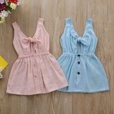 Baby Girl's Solid Tie Knot Front Ramie Cotton Dress TYChome baby girls baby boy… - Baby Clothes Newborn Baby Girl Dress Patterns, Baby Clothes Patterns, Dresses Kids Girl, Cute Baby Dresses, Baby Summer Dresses, Baby Outfits Newborn, Baby Boy Outfits, Kids Outfits, Baby Girl Clothes Summer
