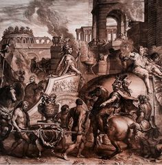 Alexander The Great's triumphal entry into Babylon, 1675 etching, and engraving, printed on two sheets. Gerard Audran after Charles Le Brun. Engraving in reverse of the painting in the. Hermitage Amsterdam, Triumphal Entry, Alexander The Great, Egyptian, Fine Art, History, Printed, Painting, Louvre
