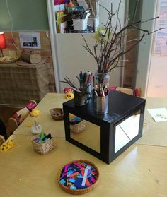 """IKEA hack- Expedit cube upside down with mirrors from OAC Neutral Bay. Via Facebook - """"Let the children play"""""""