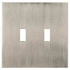 allen   roth�Linden 2-Gang Satin Nickel Standard Toggle Metal Wall Plate