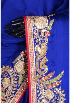 Pure Satin Embroidery-Dark Blue-Gota Work-WG203072