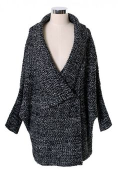 Dark-grey Loose Fit Drape Cardigan