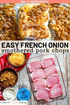 Cheesy and creamy pork chops baked with crunchy French fried onions on top. A 4 ingredient, 4 step easy weeknight dinner in under an hour. Easy Main Dish Recipes, Easy Pork Chop Recipes, Pork Recipes, Cooking Recipes, Healthy Pork Chops, Baked Pork Chops, French Fried Onions, Easy Family Meals