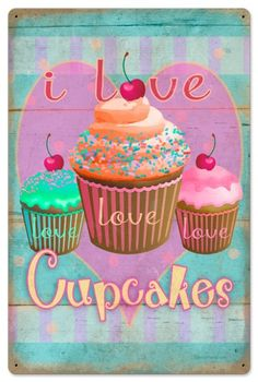 Retro Cupcake Love Tin Sign