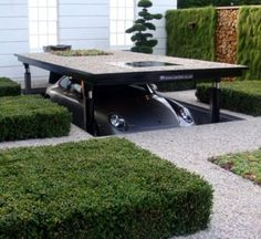 Garage.  Ultra cool way to surprise barbecue guests.