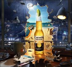 Coronita Cerveza beer - a dark office vs. sunny beach.