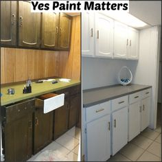 JUST New Paint - BIG Difference - we used a special counter-top paint for that area and then put new pulls on the cabinet doors for a dramatic change to this craft area
