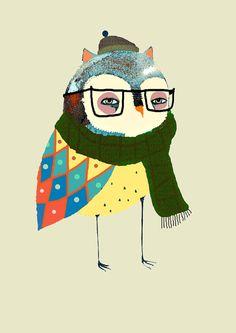 Fashionable Owl. Illustration print Owl Poster by AshleyPercival, $40.00