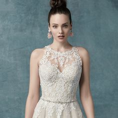 This tulle ball gown wedding dress features lace motifs with an optional Swarovski crystal belt for adding elegance. Classic Wedding Gowns, Wedding Dress Trends, Tulle Ball Gown, Ball Gowns, Bridal Dresses, Prom Dresses, Maggie Sottero Wedding Dresses, Modern Princess, Spring Wedding