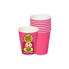 Bright Pink 16oz Plastic Cups | 50ct