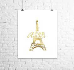 Paris Amour, Travel Poster, Gold Print, Shiny gold Print, Office Decor, Bedroom Wall Art, Wall Art, Typography Poster, Paris Poster Art