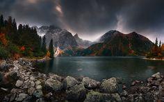 Download wallpapers Tatras, autumn, lake, mountains, Europe