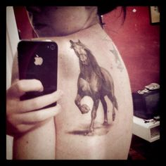 gorgeous horse tattoo. - wouldnt do this either...but cute also!