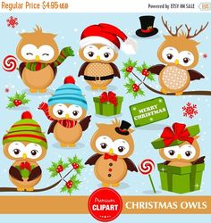 70% OFF SALE Christmas owls clipart set, christmas clipart, owl clipart, digital images - CA272 by PremiumClipart on Etsy