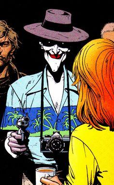 Joker visits the Gordons in The Killing Joke (1988) Art by Brian Bolland Story by Alan Moore Joker And Harley Quinn, Comic Books Art, Dc Comics Art, Marvel Dc Comics, Anime Comics, Comic Sans, Joker Art, Joker Comic, Superman