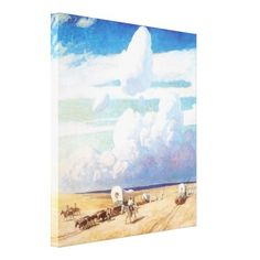Covered Wagons by NC Wyeth, Vintage Cowboys Stretched Canvas Prints