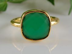 Silver or Gold Green Onyx Ring