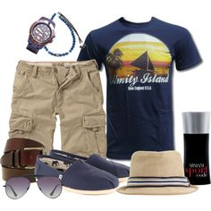 """Cargo Short & Blue T-Shirt"" by marta-cercols on Polyvore"