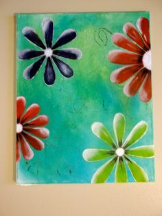 Canvas with acrylics painting #home decor #flowers #Artwork
