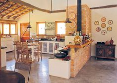 Spanish style masonry stove kitchen.